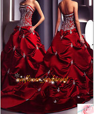 Bridal Wedding Dress Gowns Custom A-Line Strapless RED Formal Ball Stunning
