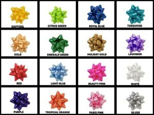 """Medium Star Gift 3-1/2"""" Bows 13 Loops Easy peel-stick Choose Color & Pack Amount"""