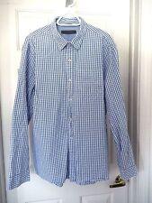 Giordano Button Down Shirt-size L, blue/white  Super soft quality cotton!