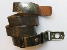 Vintage Leather Belt with Rare KUM-A-PART Snap On Belt Buckle, PAT 1921