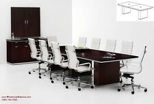 10 Foot Conference Room Table with Grommets and 8 Chairs TABLE AND CHAIRS SET