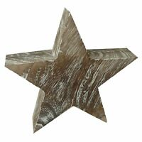 Large White Washed Wood Effect Star Christmas Rustic Home Decoration XM743