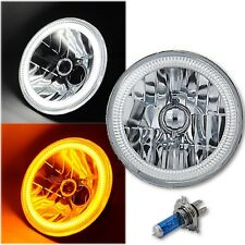 "7"" Switchback White LED DRL / Amber Turn Signal Angel Eye Halo H4 60w Headlight"