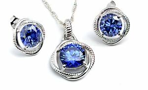 TANZANITE INFINITY SET NECKLACE AND NEW STYLE EARRINGS .925 STERLING SILVER