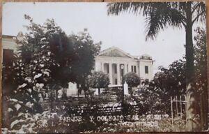 Cienfuegos, Cuba 1930s Realphoto Postcard: Parque y Colegio San Lorenzo