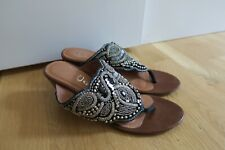 Jeffrey Campbell Dadeland Sz 9 Beaded Wedge Sandal Pre-Owned Silver Studded
