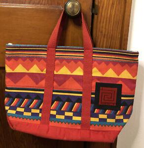 Frank Lloyd Wright Taliesin West Aztec GeometricTote Bag Handbag Purse EUC