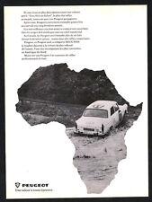 1969 PEUGEOT 404 Vintage Original Print AD White car photo East African Safari