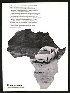 1969 PEUGEOT 404 Vintage Original Print AD White car photo East African Safari
