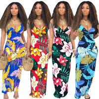 Women spaghetti strap V neck floral print casual club party bodycon long dress