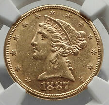 1887 S United States Coronet Head Half Eagle Antique GOLD US Coin NGC AU i80136