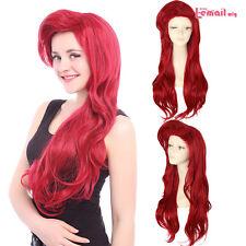 Halloween Wigs 70cm Long Dark Red Little Mermaid Ariel Curly Wavy Cosplay Wig
