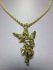14KT GOLD PLATED 20 INCH 2.5MM ROPE WITH A LARGE ANGEL CHARM PENDANT,