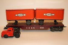 O GAUGE MARX 05545 CB&Q FLAT CAR #5545 W/ ALLSTATE PIGGYBACK TRAILERS & TRUCK