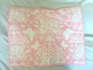 """Pottery Barn Butterfly Loft Quilted Pink Pillow Sham Monogrammed """"Meredith"""" NWT"""