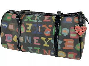 Dooney & Bourke Spell Out Graffiti Barrel Bag Multi Color Zipper Black Scribble