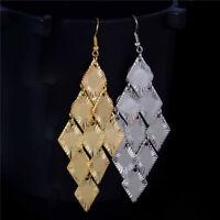 1 Pair Women Gold Silver Big Statement Long Drop Dangle Hook Earrings Jewelry
