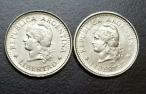 1958-1959 ARGENTINA 20 CENTAVOS CAPPED LIBERTY HEAD LOT OF 2 COINS KM 55