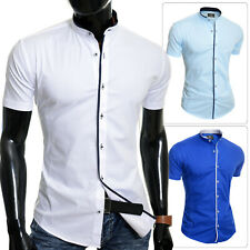 Mens Elegant Short Sleeve Shirt Smart Grandad Collar Cotton White Blue Stitching