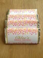 Pink and Gold Personalised Chocolate Wrappers for Birthday, Baby Shower, Bridal