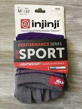 INJINJI Toe Socks Kids Sport Cool Max Crew Purple Youth Size M NEW