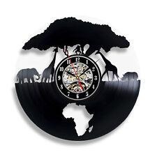 Africa Themed Vinyl Clock - Wild Animals Art Decotation Giraffe Home Decor