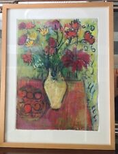 Large Gouache & Pastel Still-life Signed by Mieu Hitchings French Style