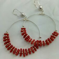 Natural red coral branches Earrings hoop  and sterling silver diametre 55mm