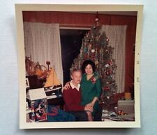 Vintage 60s Photo Married Couple Green Dress w/ Pearl Necklace Christmas Eve