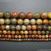 Natural Picasso Jasper Gemstone Round Loose Beads 4mm 6mm 8mm 10mm 12mm 14mm 16""