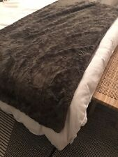 Marks & Spencer Abstract Faux Fur Throw Dark Brown