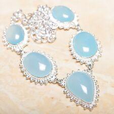 "Handmade Blue Chalcedony Quartz Gemstone 925 Sterling Silver Necklace 20"" N01038"