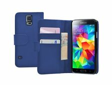 Wallet BLUE Leather Flip Case Cover Pouch Samsung Galaxy S5 +2 SCREEN FILMS