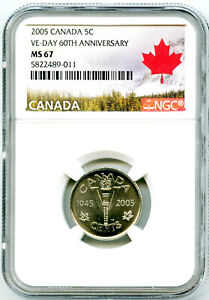 2005 CANADA 5 CENT NGC MS67 V-E VE-DAY 60TH ANNIVERSARY VICTORY V NICKEL WWII