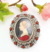 Antique / Vintage 800 Silver Filigree Hand Painted Portrait Brooch