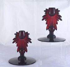 Candlesticks Vintage Depression Sun Rays 1 Light Light Ruby Red Glass Pair