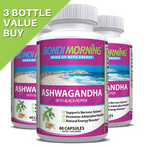 Organic Ashwagandha Capsules With Black Pepper For Strong Immune System, 60 Caps