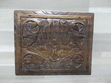 Old wood box - Juwelry of cigarettes ? - hand carved wood bird patern