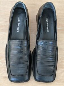 ENZO ANGIOLINI Black Leather Square Toe Low Heel Women's Shoes Size 7.5 M As New
