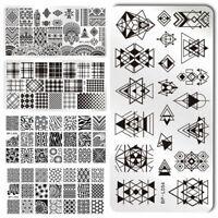 BORN PRETTY Nail Stamping Plates Rose Geometry Nail Art Image Templates Tools