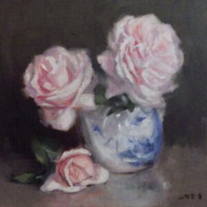 """""""Roses 5"""" original fine art still life oil painting by Xiaomei Griffiths"""