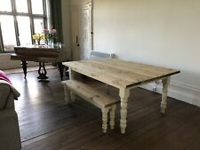 """Large Farmhouse Style Table and Bench Country Kitchen (6' x 3'3"""")"""