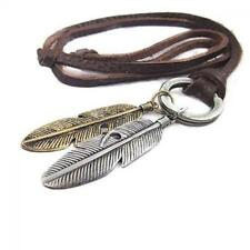 Vintage Choker 2 Wings Feather Pendant Leather Chain Necklace Mens Jewelry