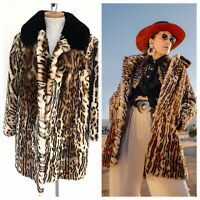 Vintage VTG 1960s 1970s Leopard Mouton Printed Fur Coat Jacket