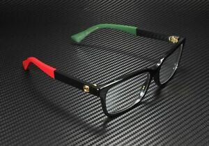 GUCCI GG0168O 007 Rectangular Square Black Demo Lens 55 mm Women's Eyeglasses