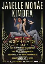 JANELLE MONAE + KIMBRA 2014 Australian Golden Electric Tour Poster Cancelled NEW