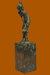 Nouveau Female Maiden Bronze Sculpture Hot Cast Handcrafted Statue Art by Milo