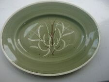 """One Susie Cooper Chinese Fern 14"""" Green oval serving plate hand painted"""