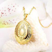 18K Oro Oval Foto Colgante Cadena Collar de alta calidad * Reino Unido *