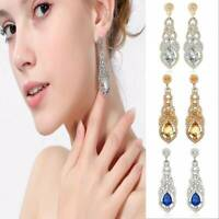 Long Crystal Drop Earrings Diamante Bridal Rhinestone Silver Dangle Wedding Prom